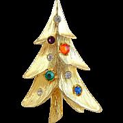 Vintage Modernist Multi Rhinestone Christmas Tree Pin