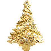 Vintage Christmas Tree Pin Faux Pearls Rhinestone & Bow