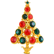 Vintage Red Green Rhinestone Christmas Tree Pin