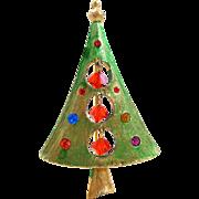Vintage Dangling Crystals & Rhinestones Christmas Tree Pin