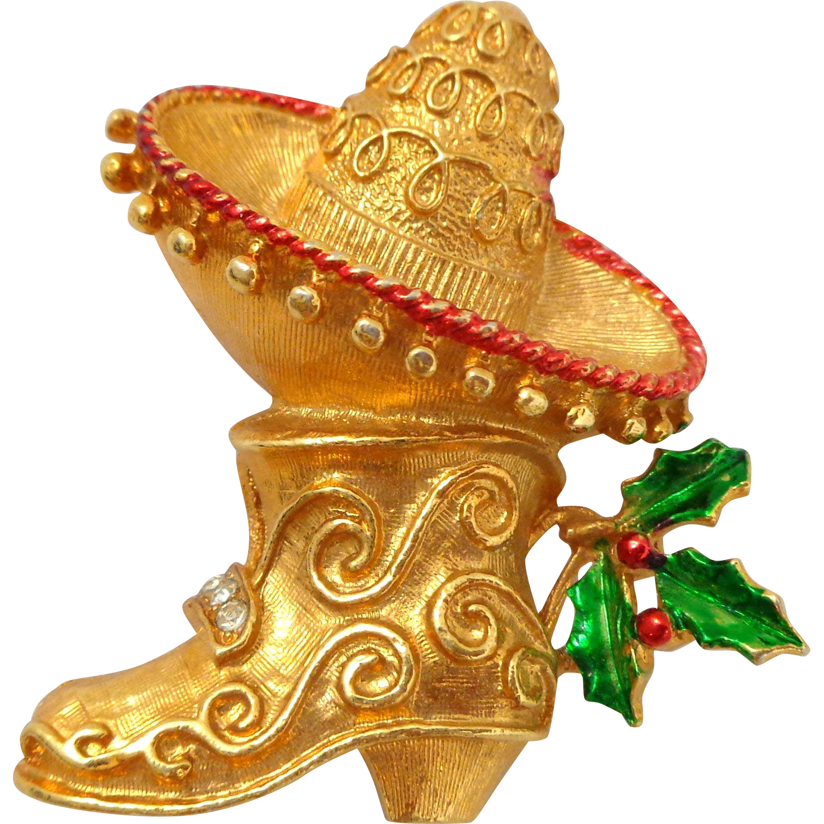 Vintage COREL Holiday Mexican Sombrero and Boot Pin