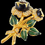 Vintage CORO Trembler Rhinestone & Enamel Flower Pin