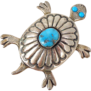 Vintage Clarence Lee Russell Lee NAVAJO Sterling Silver Turquoise Turtle Pin
