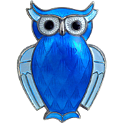 Vintage DAVID ANDERSEN Sterling Silver Blue Enamel Owl pin