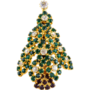 Vintage EISENBERG Rhinestone Multi Layered Christmas Tree Pin Book Piece