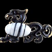 Vintage EISENBERG Black Enamel Glass Belly Dragon Pin