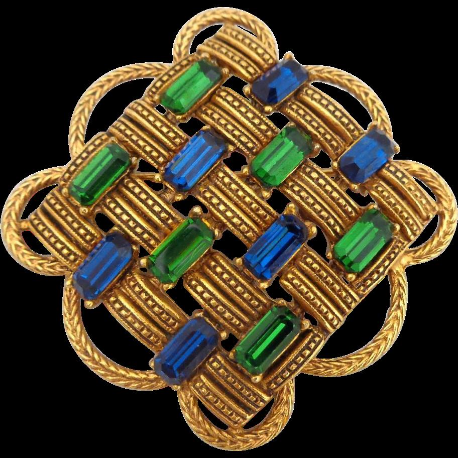 Vintage FLORENZA Woven Blue Green Rhinestone Pin