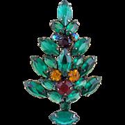 Gorgeous Vintage Green Navette Rhinestone Christmas Tree Pin Book Piece