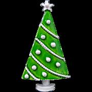 Vintage Green White Polka Dot Christmas Tree Pin