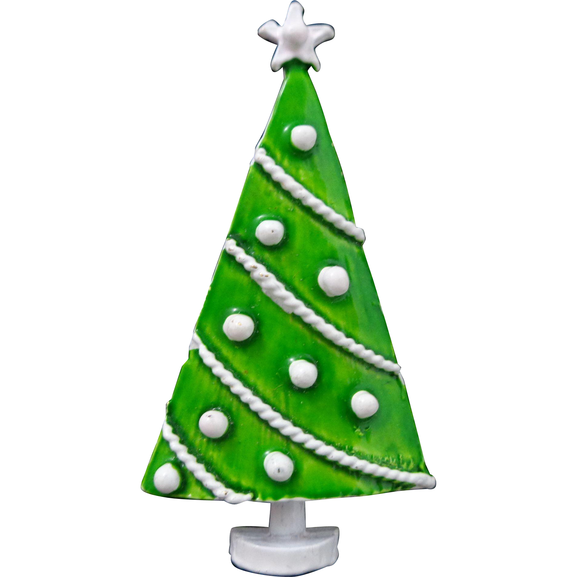 Vintage Green White Polka Dot Christmas Tree Pin