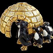 Vintage Rare HATTIE CARNEGIE Dimensional Igloo & Penguins Figural Pin
