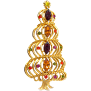 Vintage HEDY Mod Spiral Rhinestone Christmas Tree Pin Book Piece