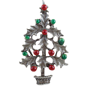 Vintage Holly & Berry Christmas Tree Pin
