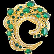 Vintage Camrose & Kross Jackie Kennedy JBK Emerald Green & Clear Crystal Swirl Pin