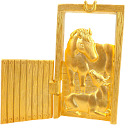 Vintage JJ Horse and Foal Movable Door Pin
