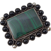 Vintage Native American Johnny Johnson Sterling Silver Malachite Onyx Pin