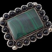 Vintage Native American Johnny Johnson Sterling Silver Malachite Onyx Pin