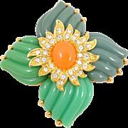 Estate JOAN RIVERS Coral Jade Lucite Crystal Pinwheel Pin