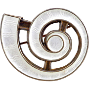 Early J TOSTRUP Sterling Silver Guilloche Enamel Nautilus Shell Pin