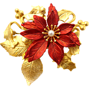 Vintage KC Poinsettia Pin