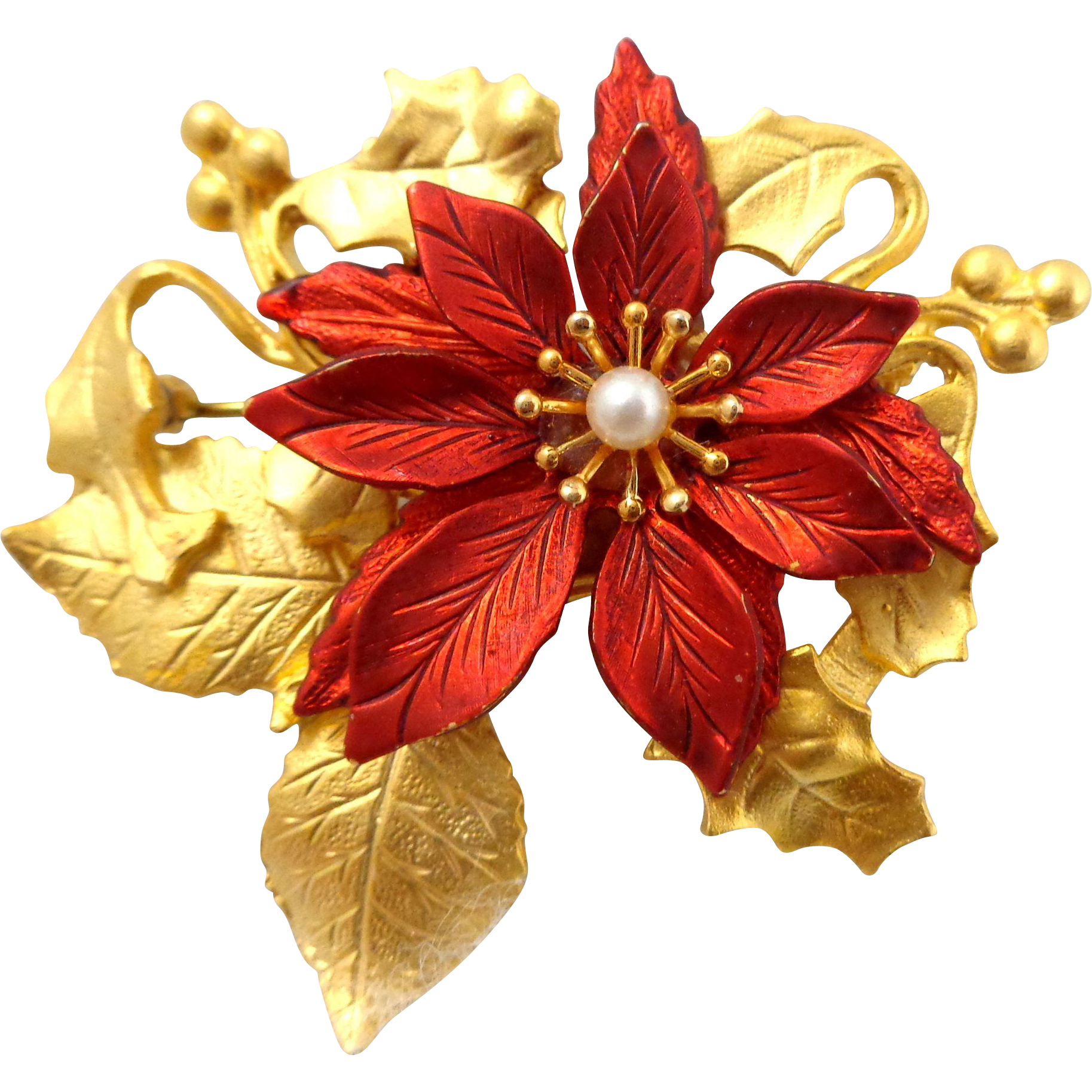 Vintage Kc Poinsettia Pin From Riverroadcollectibles On