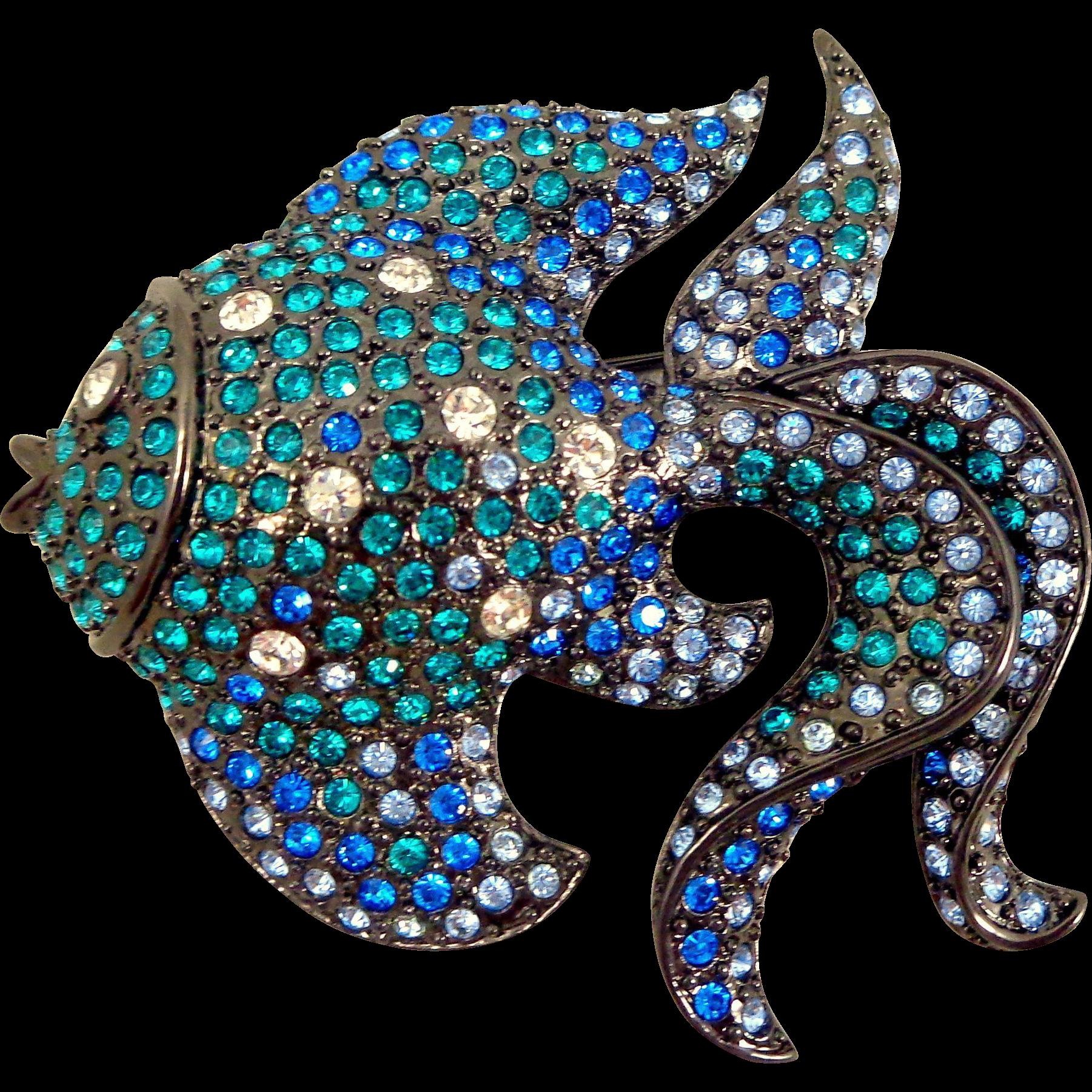Stunning Kenneth Lane KJL Crystal Angel Fish Pin
