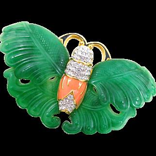 Exquisite KJL Kenneth Lane Carved Green Wings Crystal Enamel Moth Pin