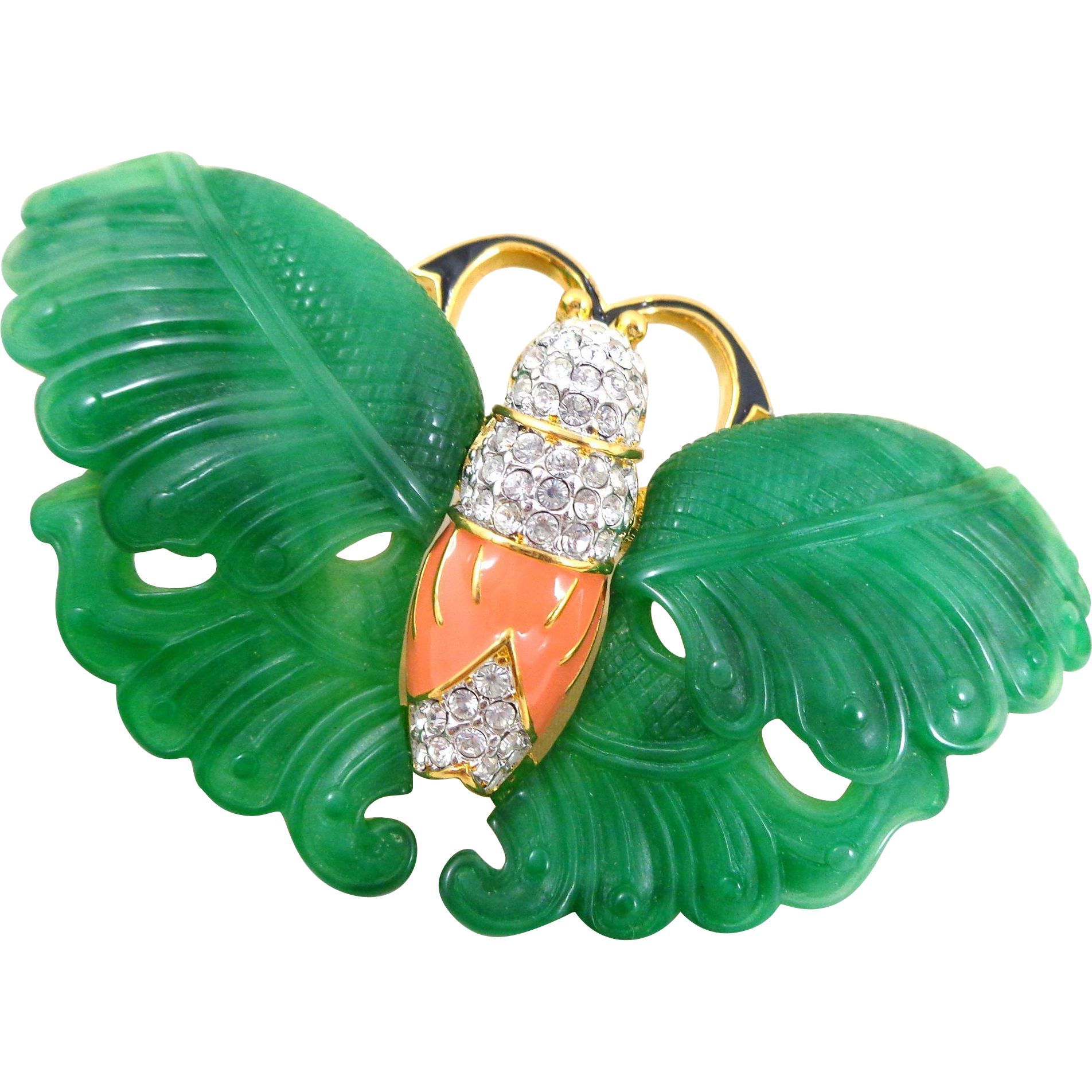 Exquisite KJL Kenneth Lane Carved Green Wings Crystal Enamel Moth Pin