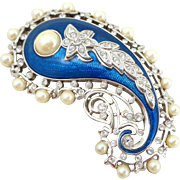 "KJL Kenneth Lane ""Empress of India"" Crystal Enamel Faux Pearls Pin"