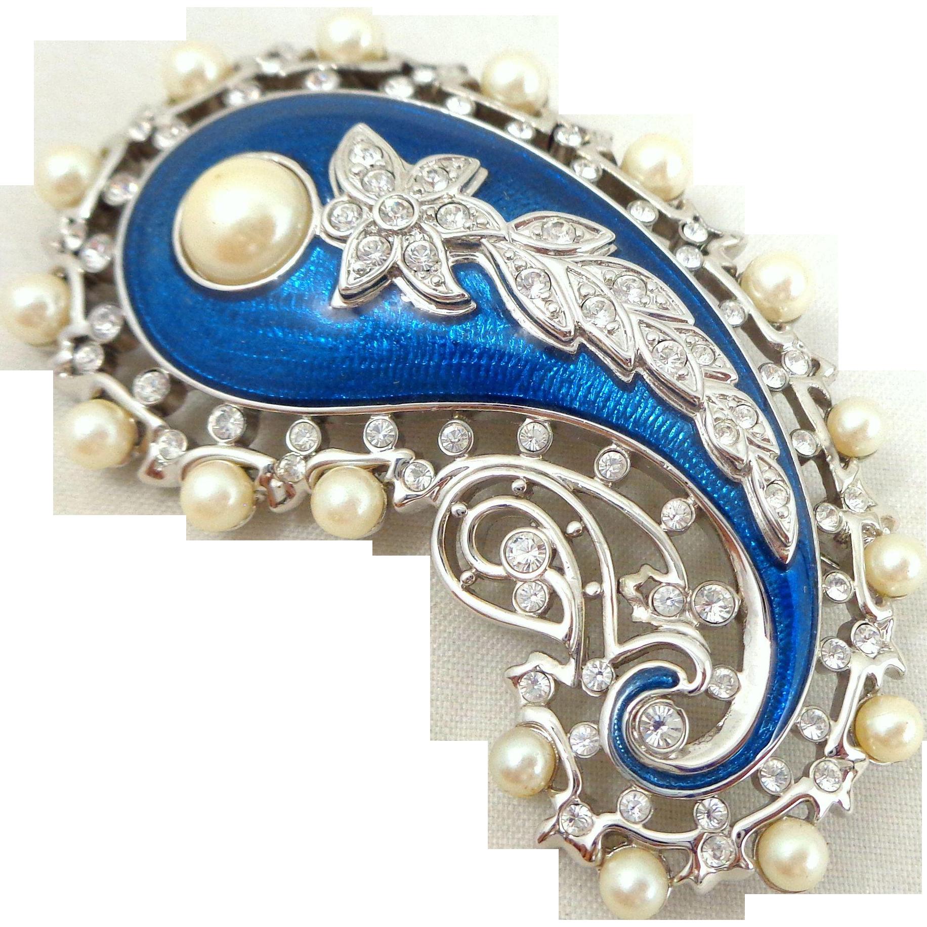 "KJL Kenneth Lane ""Empress of India"" Crystal Enamel Faux Pearls Pin"