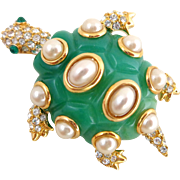 KENNETH LANE KJL Jade Resin Sim Pearls & Crystals Turtle Pin