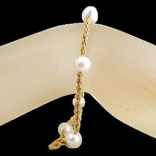 Vintage 10K Gold Freshwater Pearl Rope Chain Bracelet