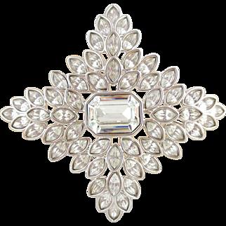 Vintage Stunning Huge KENNETH LANE KJL Four Point Star or Cross Crystal Pin