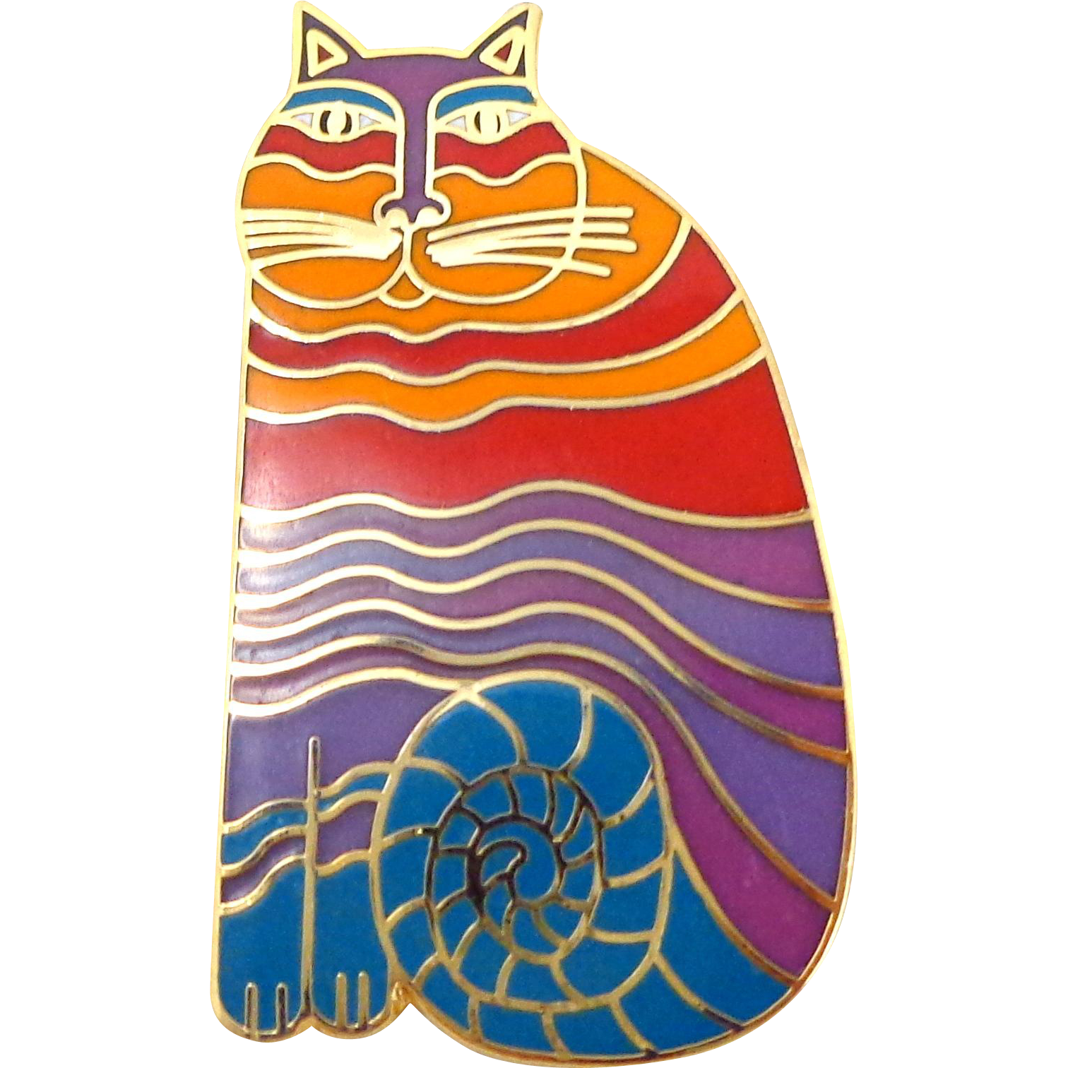 "Vintage LAUREL BURCH ""Rainbow Cats"" Enamel Pin"