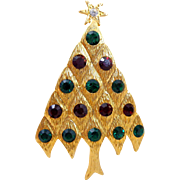Vintage LIA Red Green Rhinestones Diamond Pattern Christmas Tree Pin