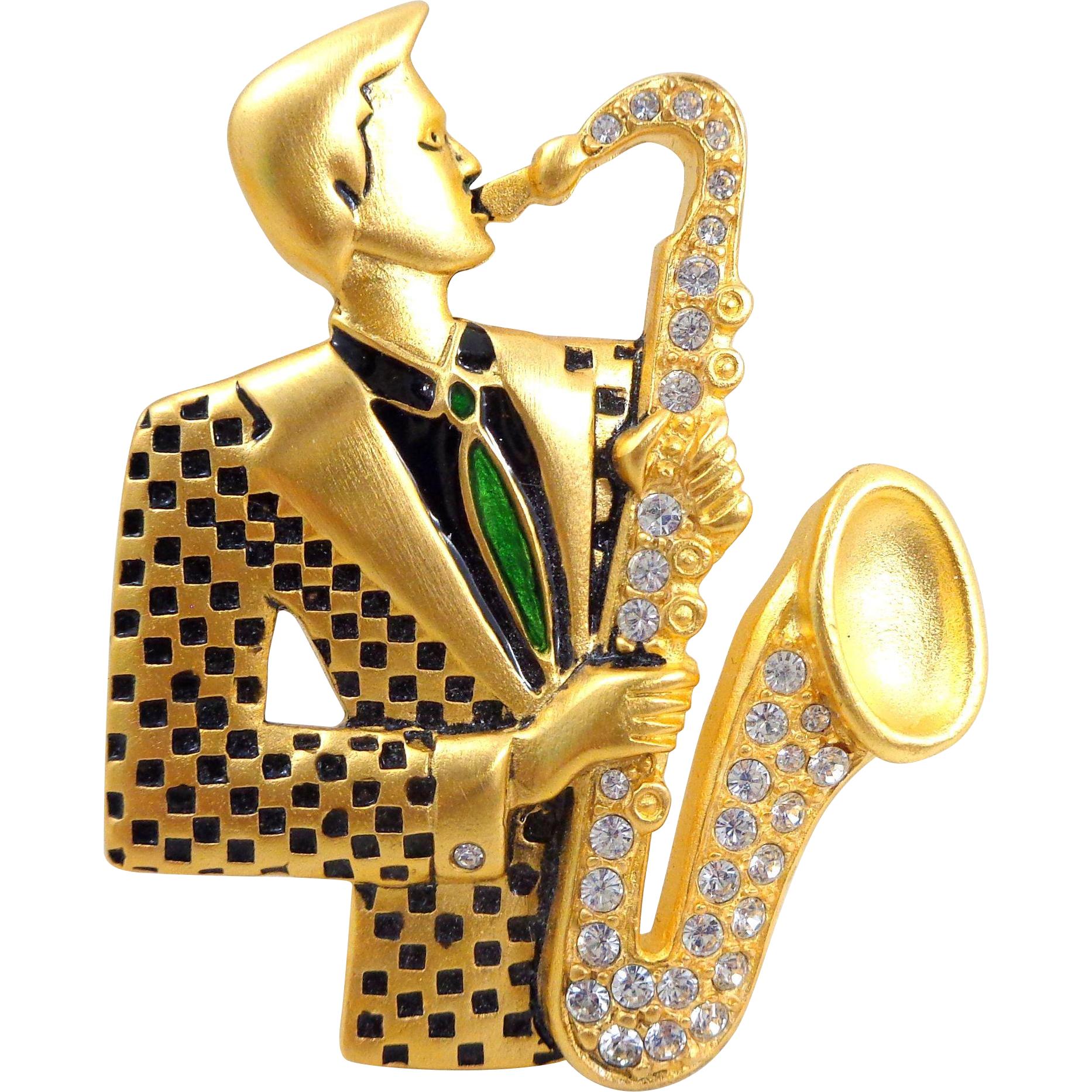Vintage BOB MACKIE Retro Man Playing Saxophone Pin