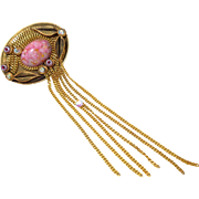 Vintage MARENA Pink Art Glass Rhinestone Dangling Chains Pin