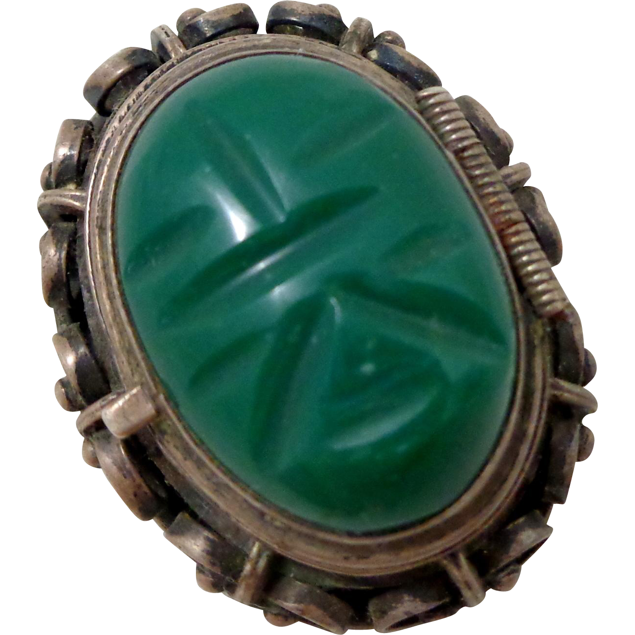 Early MEXICO Sterling Silver Carved Green Mask Face Poison Locket Pin