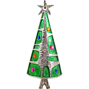 Vintage Modernist Silver Foil Christmas Tree Pin