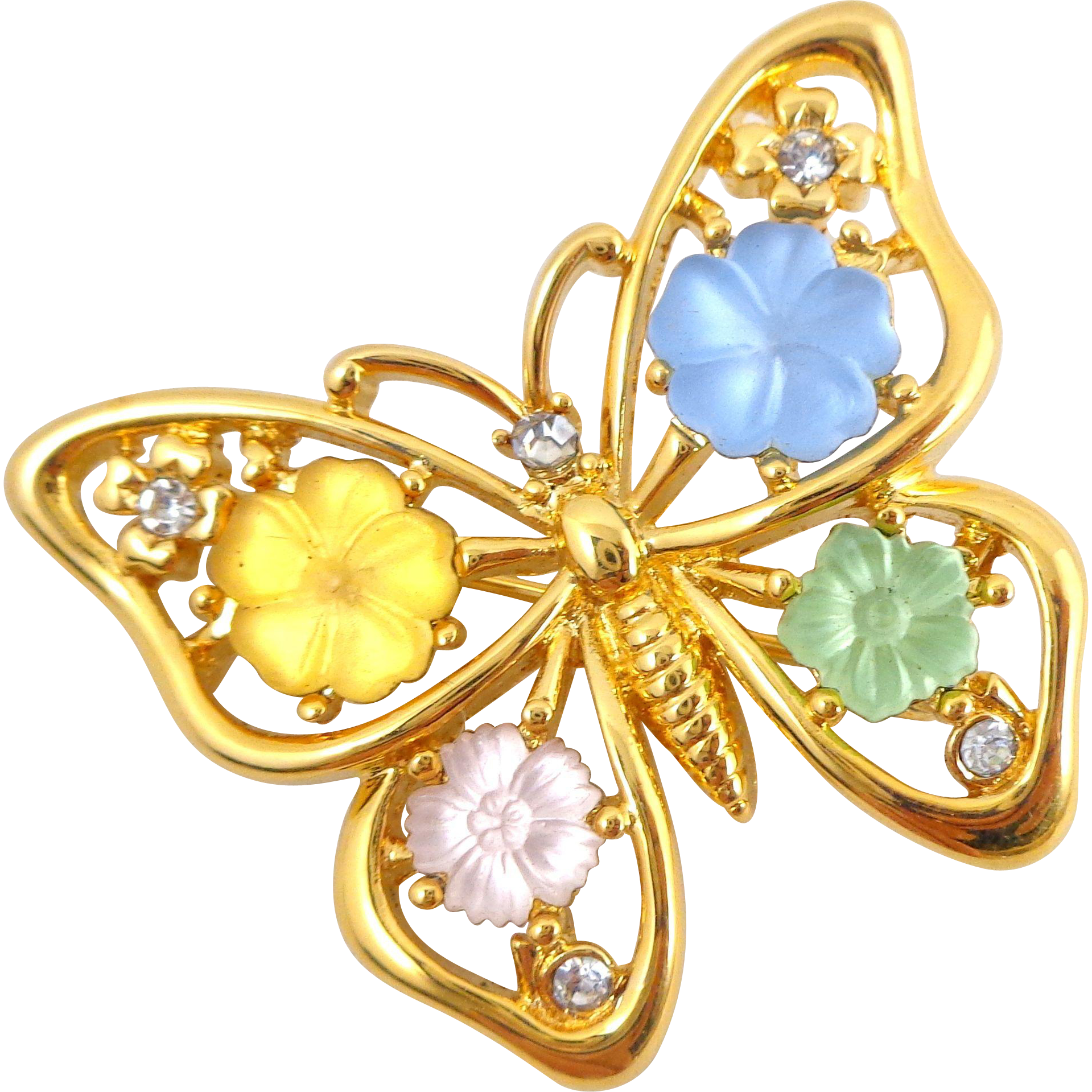 Vintage MONET Molded Glass Flower Butterfly Pin
