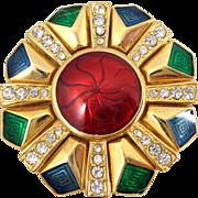 Vintage MONET Enamel & Rhinestone Holiday Snowflake Pin