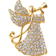 Vintage MONET Heralding Angel Christmas Holiday Pave Rhinestone Pin