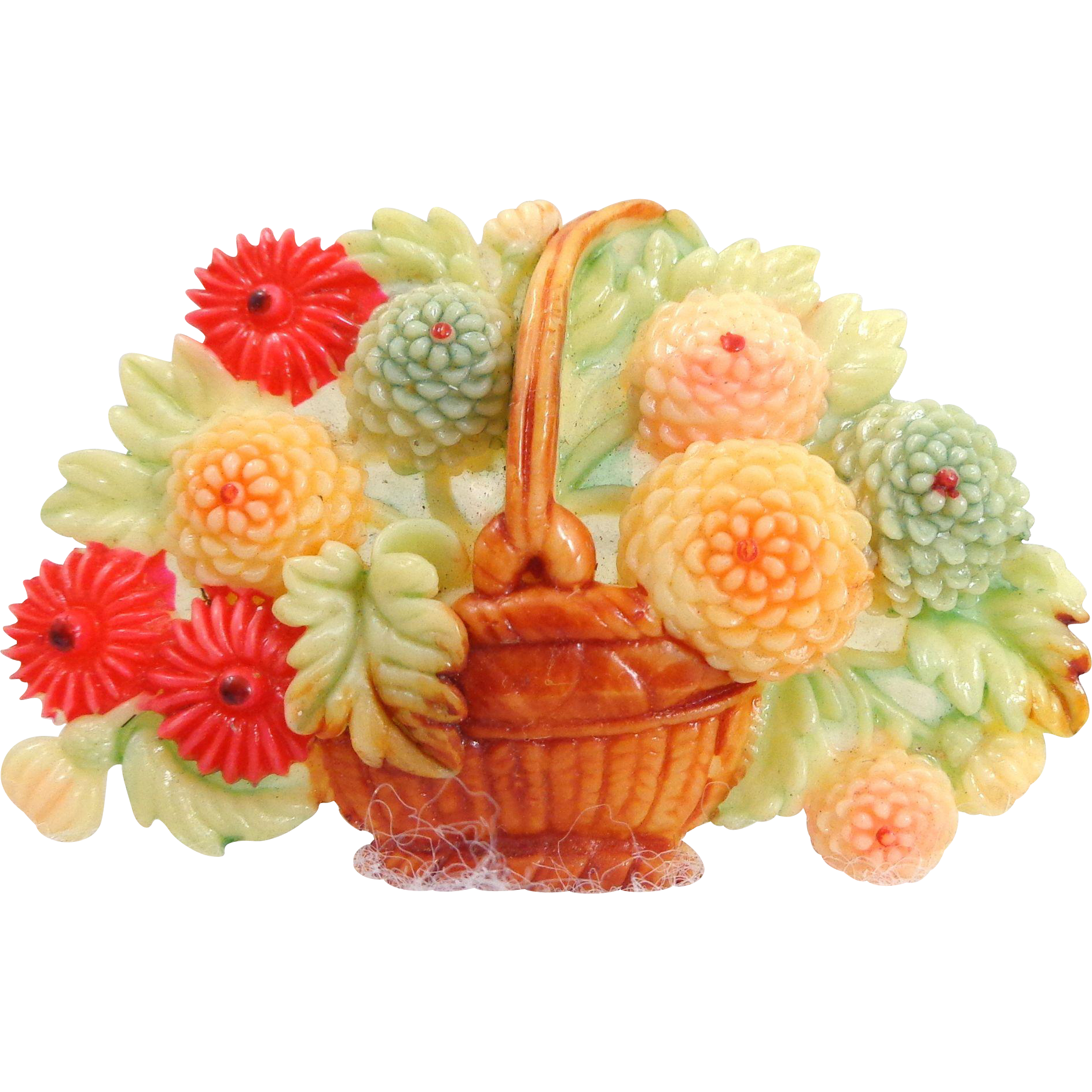 Early JAPAN Celluloid Basket of Mums Floral Pin