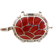 Native American ZUNI Inlaid Coral Sterling Silver Turtle Pin Pendant