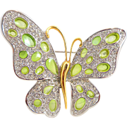 Designer NOLAN MILLER Green Stained Glass Pave Crystal Butterfly Pin