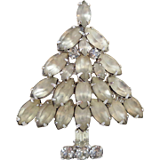 Vintage NAPIER Frosted Rhinestone Christmas Tree Pin Book Piece