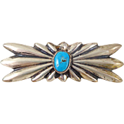 Vintage Native American Sterling Silver Turquoise Sand Cast Pin