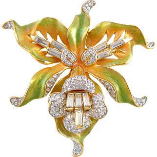Vintage NOLAN MILLER Enamel & Crystal Exotic Orchid Pin