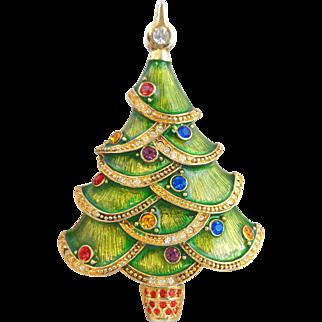 Large CHRISTOPHER RADKO Rhinestone Accented Green Enamel Christmas Tree Pin