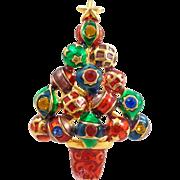 CHRISTOPHER RADKO Enamel & Rhinestones Ornaments Christmas Tree Pin Pendant